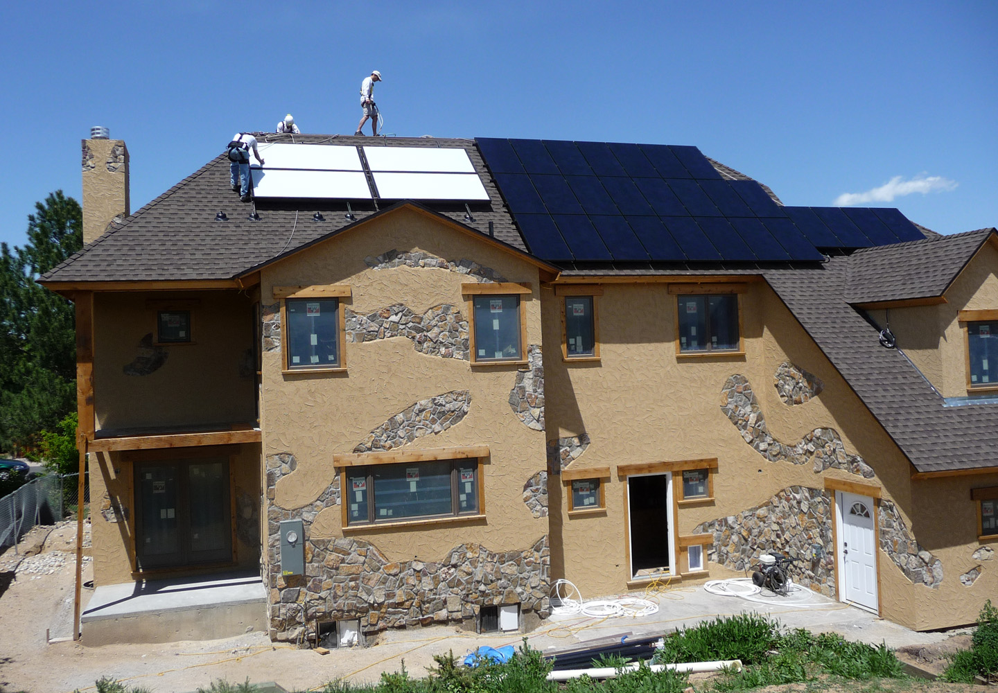 South facing platinum leed home with solar pv and solar thermal