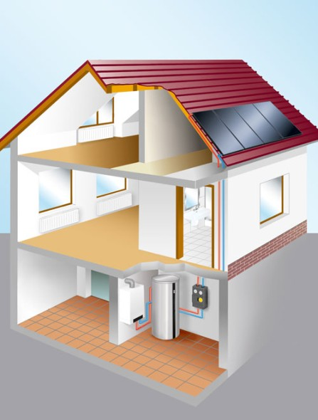solar hot water heating diagram from Viessman